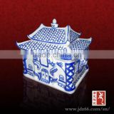 Blue and white porcelain design high quality ceramic marble urns for funeral made in China