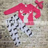 new hot design hot pink reindeer top Christmas -mas suit kids baby reindeer print pants boutique girls clothes sets