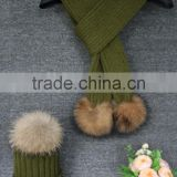 New Style Deep Green Knit Scarf Hat Set / Strip Design Winter Scarf With Natural Raccoon Fur Pom Pom
