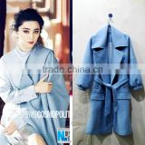 Woollen coat Supper start lovely style blue woollen coat factory price