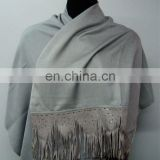 Silk Pashmina wool with Leather Sued Trim Shwals