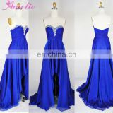 Royal blue strapless beaded chiffon prom dress