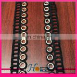 hg030 white and black color polyester eyelet lace trim for garment decoration