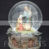 Polyresin nativity sculpure snow ball religious crafts