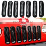 Jeep parts 7PC Front Grill Mesh Grille Insert Kit For Jeep Wrangler Rubicon Sahara Jk 2007-2015