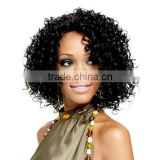 Cheap Fashionable Mystique Synthetic Swiss Net Wig African American Micro Braided Short Lace Front Wigs for Black Women