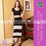 2015 Summer New Arrival Women's Clothing Ethnic Brand Black White Striped Short Sleeve Sexy Casual Dress
