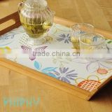 "Bamboo tray with silk-print cork bottom, ""Garden"""