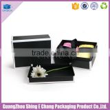 Luxury customized handmade artwork black cardboard printed rectangular gift packaging box/clothes packaging box