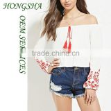 Embroidery Off-The-Shoulder BlousesTops and Jeans Photos 2016 New Designs HSb7514