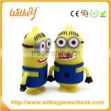 2016 New Custom PVC yellow banana man battery charger Cartoon Minion portable mobile power bank
