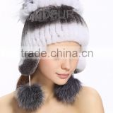 QD80237 Knit Rex Rabbit Fur Hat With Silver Fox Fur Crochet Flower Hot New Products for 2015
