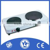 Electric Stove Double Burner Hot Plate (With Lid), Electric Cooker with Cast Iron Heating Element