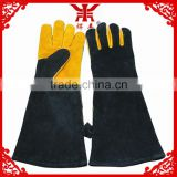 18inch black back and yellow palm long leather work gloves work glove en388 cow split leather welding work gloves