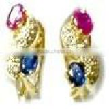 Gold Ear Rings With Diamond , Ruby & Blue Sapphire
