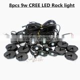 8PCS RGB C-ree LED Rock Light tail Fender Under Under Car Decorative Offroad RGB Light with Bluetooth Controller