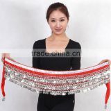 2016 Hot selling women cheap new belly dance hip scarf 338 gold coins belly dancing chains velvet belt for sale