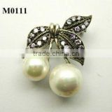 vintage pearl brooch with cubic zirconia