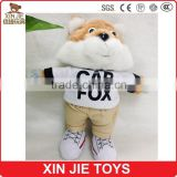 plush fox doll toys animal shape soft dolls with clothing EN71 standard stuffed fox doll toy