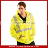 HVJ010 Zippered Hoodie With Safety Reflective Stripes Lightweight 3M Reflective Safety Jacket