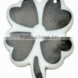 Colorful Resin Pendants, with Glitter Powder, Flower, Black, 47x30x4mm, hole: 2mm(RESI-R339-1)
