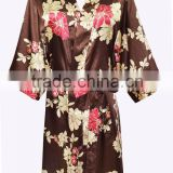 Latest Long Women Floral Satin Kimono Bath Robes Wholesale