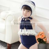 2015 fashion sun-top royal blue baby girl summer kids swimming suit lovely girl swimming set