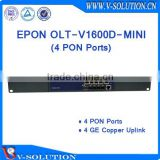 mini Compact 1U 4PON GEPON OLT Splitting Ratio 1:64 for FTTH Solution Support VLAN LLID DBA and SNMP Management