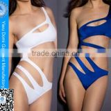 Fabric lining sexy one shoulder bandage women swimwear one piece no coverage swimsuit