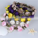 Stock Latest Colorful Bridal Floral Headband Artificial Rose Wreaths for Wedding