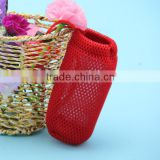 Best selling recyclable portable stand up small cotton net bags for travel with draw cord