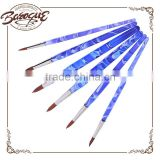 Art Supplier High Quality Artist Paint Brush 6 Piece Plastic Handle Nylon Hair Acrylic Oil Paint Brush Set For Student
