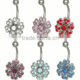 Crystal Flower Belly Button Ring body piercing jewelry