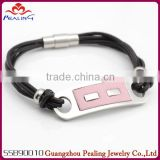 fashion high quality stainless steel bracelet leather bracelet 2014 new design wholesale stainless steel cross bracelet fashion