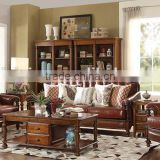 American classic concise solid wood hand carved living room furniture genuine leather 1+2+3 sofa set