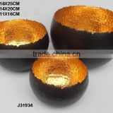 Black and golden colours Iron votive with flame like edges can be in any colour