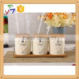 ceramic porcelain canister set,ceramic tea sugar coffee jar, ceramic canister,airtight canister with bamboo lid