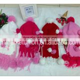 girls hand make flower hat and scarf set , and acrylic hat with embroidered tassels scraf