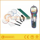 Stock 4 players steel badminton set with net and post OEM