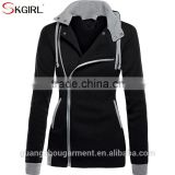 Warm 80 cotton 20 polyester oblique zipper slim fit womens hoodies jacket sweatshirt 2017