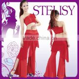 Hot selling adult one shoulder top and pants red belly dance dresses for training
