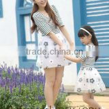 fashionable white and black stripe slim lace parent-child frock dress Mother and Daughter dress design