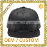 Custom embroidery logo black leather snapback hat / genuine leather snapback hat / leather caps