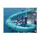 Blue Closed Tube Water Slide Fiber Glass Spiral Water Slides For Water Park Playground