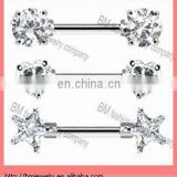 Fashion different shaped crystal nipple bars nipple ring piercing jewelry