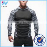 Yihao Men's long Muscle athletic manufacturers wholesale fitness apparel camo hoodies