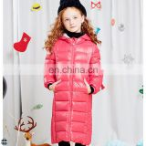 T-GC011 Long Paragraph Child Girls Warm Knee Length Winter Coat