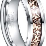 2020 New Arrival T243R NUNCAD Men's 8mm Tungsten Carbide Ring Gold Celtic Knot and Wood Inlay Wedding Band Size 7-12