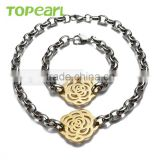 Topearl Jewelry Heavy Stainless Steel Set Necklace Bracelet Oval Cable Link Chain Silver, Flower Rose Gold Set SSJ03