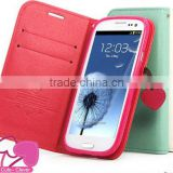 Standable wallet leather case for iphone 4,High quality card holder Cherry Leather Case For Apple iPhone4